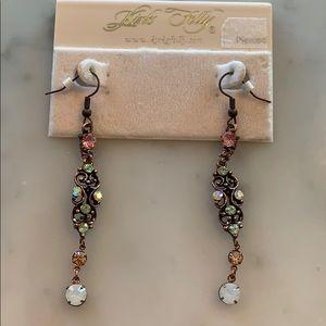 Kirks folly long drop earring w/stones